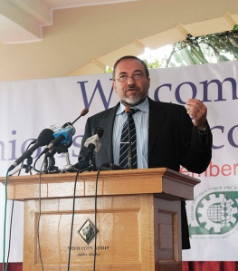 Avigdor Lieberman addresses the Ethiopian-Israel Economic Forum in Addis Ababa, 09/02/09